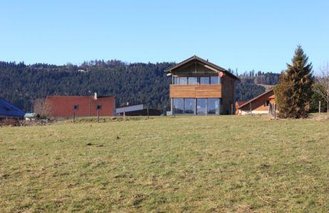 vue générale - maison ossature bois par Eric Viprey, Cambiums - France