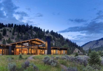 vue panoramique - River Bank house par Balance Associates Architects - Big Sky, Montana, Usa