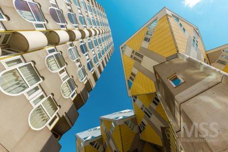 vue panoramique espaces cubes - Cube-houses par Piet Blom - Rotterdam, Pays-Bas