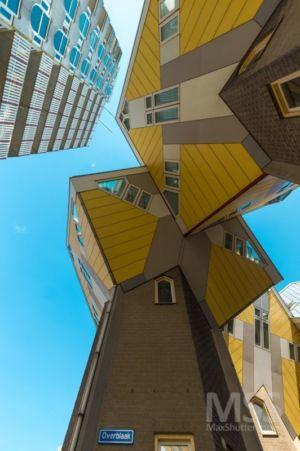 vue panoramique pièces cubes - Cube-houses par Piet Blom - Rotterdam, Pays-Bas