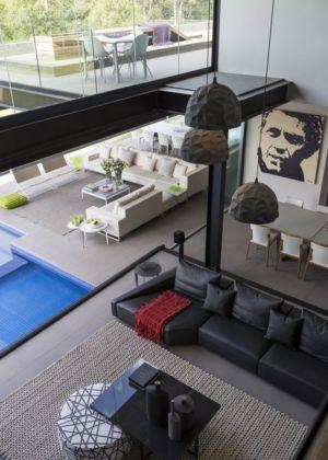 vue panoramique salon - House-in-Blair-Atholl par Nico van der Meulen Architectes - Johannesburg, Afrique du Sud