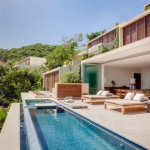 vue piscine et terrasse - Villas Finestre par CC ARQUITECTOS - Mexique - Photo Rafael Gamo & Yoshihiro Koitani