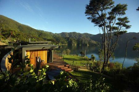 vue terrasse - Porotu Bach par studio MWA - Miritu Bay, New Zealand
