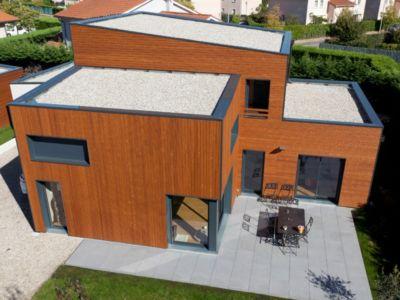 vue aérienne arrière  - Maison bois contemporaine - Ocube Architecte - France