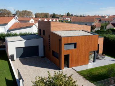 vue aérienne avant  - Maison bois contemporaine - Ocube Architecte - France