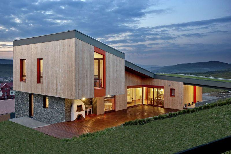 Toit Terrasse Végétalisé : Superbe int u00e9gration pour maison bois avec toiture