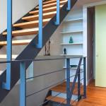 escalier bois et acier - maison bois - Anik Pelockuin - Messines - Canada