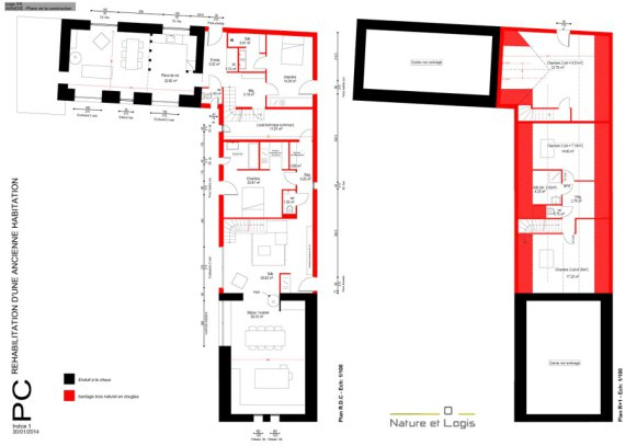 Plan - rénovation-extension- Nature et Logis - Sarthe - France