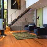 salon et poêle à bois - maison bois - Anik Pelockuin - Messines - Canada