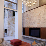 Salon intérieur - lustre - Honiton Residence - MCK Architects - Australie