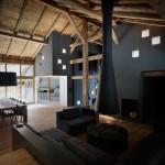 salon séjour et cheminée - Villa solaire - Jérémie Kœmpgen - Morzine - France