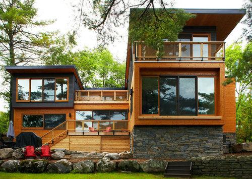 maison bois et pierre contemporaine mary lake residence par altius architecture port sydney. Black Bedroom Furniture Sets. Home Design Ideas