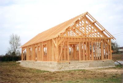 Maison ossature bois en construction