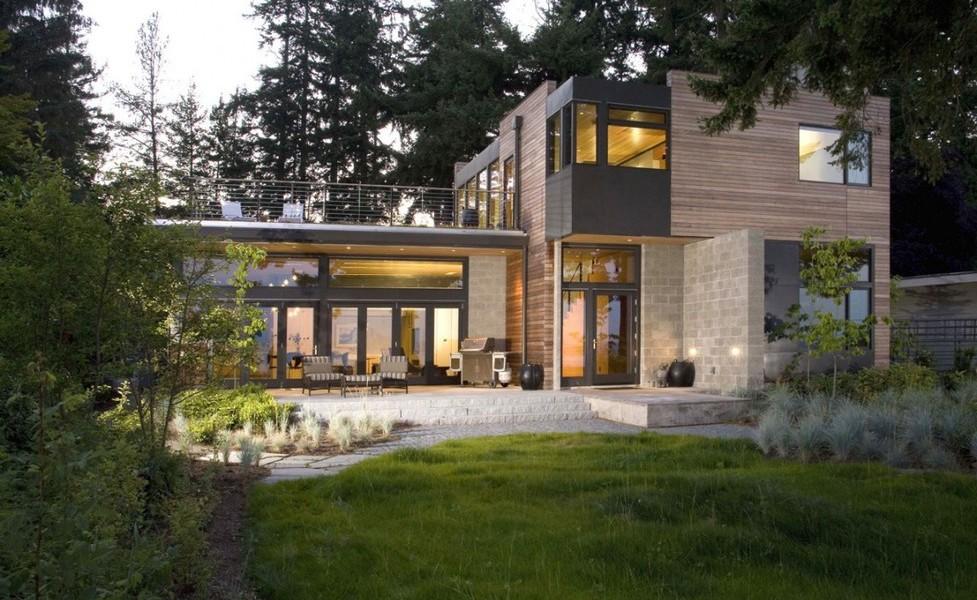 maison moderne bois pierre