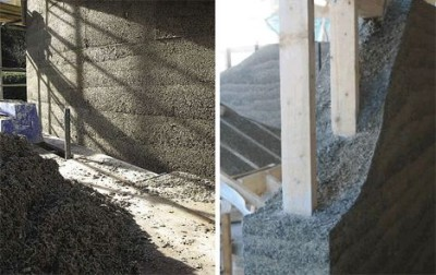 la construction d'un mur avec le bétonde chanvre 7 fois plus rapide que le béton classique