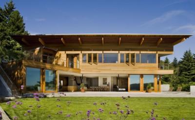 maison bois contemporaine, maison bois béton, Peter Cohan, Usa