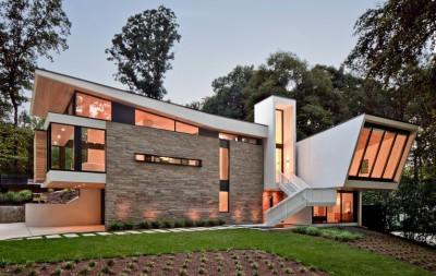 wing-roofed home par Staffan Svenson architect - Atlanta, Usa
