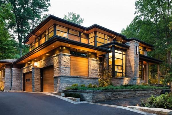 Elegant Splendide Maison Contemporaine Aux Matériaux Traditionnels