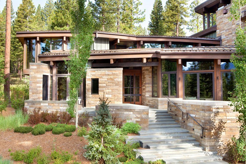 Atypique maison en bois et pierre en californie aux usa for Maison bois et verre