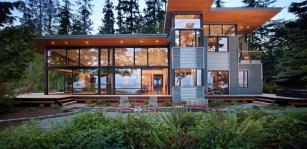 Belle Maison Avec Faade Vitre Aux Usa  Construire Tendance