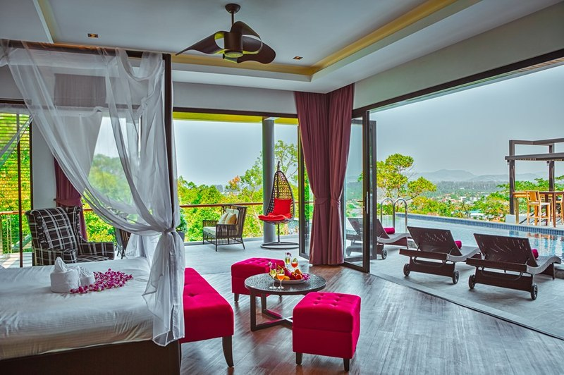 chambre principale & grande baie vitrée - villa contemporaine - Phuket, Thaïlande