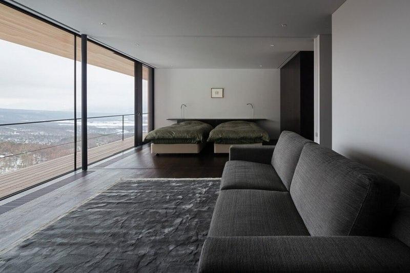 chambre & vue panoramique paysage - maison bois contemporaine par kidosaki-architects - Yutsugatake, Japon