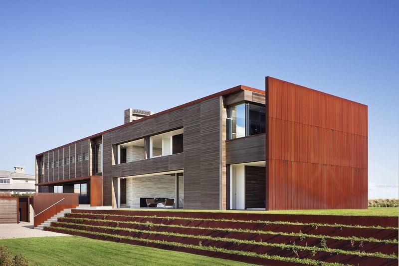 pelouse & façade entrée - sagaponack par Bates Masi Architects - Sagaponack, USA