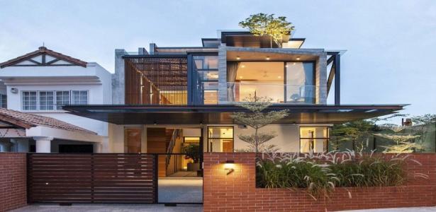 magnifique maison en briques et en bois singapour construire tendance. Black Bedroom Furniture Sets. Home Design Ideas