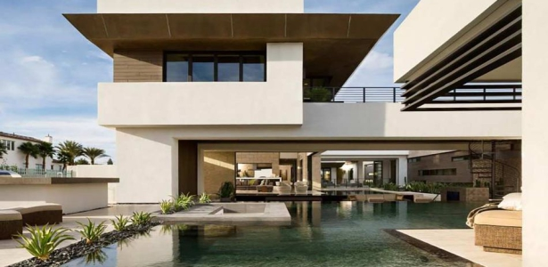 Superbe villa contemporaine de luxe avec vaste piscine aux usa construire tendance for Maison moderne de luxe avec piscine