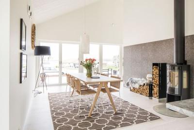 salle à manger & cheminée design - - villa-vallmo par Thomas Sandell - Skaraborg, Suède