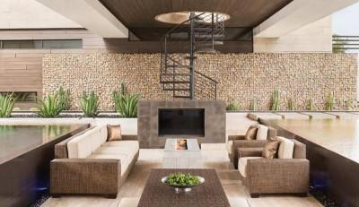 salon design & cheminée - villa contemporaine par Blue Heron - Henderson, USA