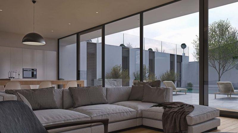 salon & grande baie vitrée - maison exclusive par A.Mascow Architects - Almaty,Kazakhstan