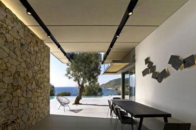 salon terrasse design - résidence exclusive par Z-Level - île Kios, Grèce