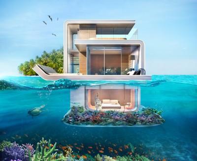 """A Dubaï, dans les """"floating seahorses"""", on pourra, en 2016, profiter d'une vue sous-marine à 180 degrés. (Kleindienst Group)"""