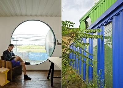 atelier de travail & façade vitrée extérieure - maison-container par Vedat Ulgen & Deger Cengiz - New York, USA