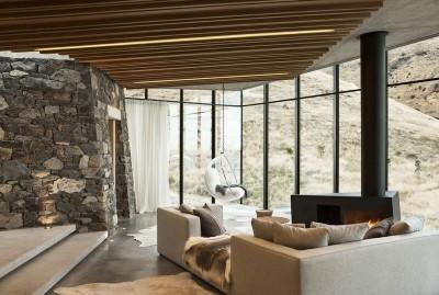 salon & cheminée design - fascinating-nature-house par Pattersons - Nouvelle-Zélande