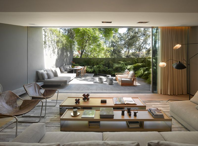 salon & vue terrasse extérieure - Barrancas House par Ezequielfarca Architecture & Design - Mexico, Mexique