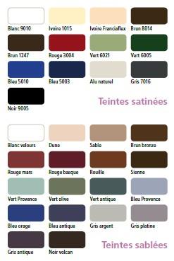 coloris menuiseries Franciaflex