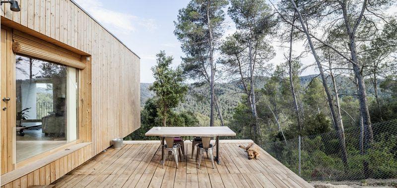façade terrasse bois - House LLP par Alventosa Morell Arquitectes - Collserola, Espagne