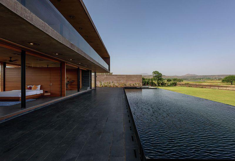 façade terrasse & cours d'eau - Panorama House par Ajay Sonar - Maharashtra, Inde