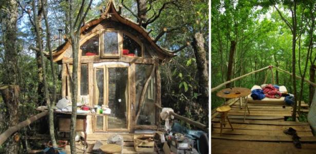 Vid o visite d 39 une petite maison auto construite dans les bois construire tendance - Construire une petite maison en bois ...