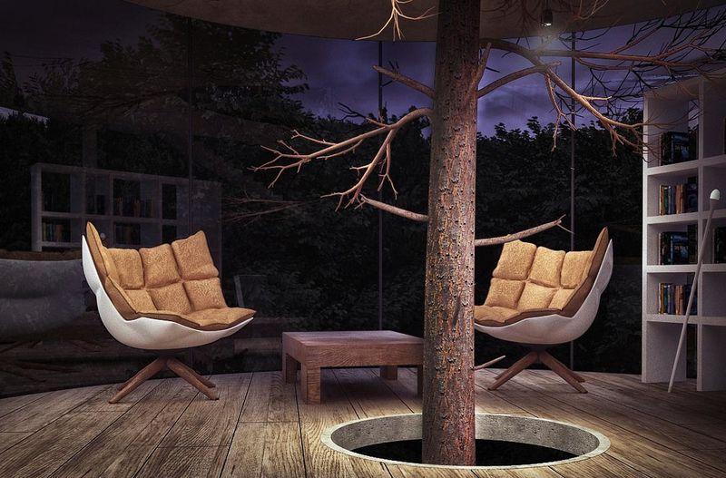 pièce repos & arbre au centre de la maison - Glass-House par Aibek-Almassov - Kazakhstan