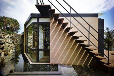 Escalier extérieur accès toiture terrasse - Spectacular-Views-Home par Create Think Design - Taïwan