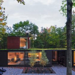 Façade tarrasse bois - Pleated-House par Johnsen-Schmaling - Wisconsin, USA