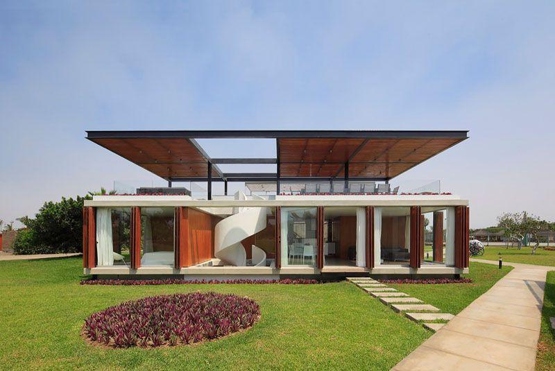 Belle maison contemporaine et son escalier spiral menant - Belle maison a construire ...