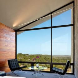 Chambre principale & grande baie vitrée - Glass-House par Jim Gewinner Texas, USA