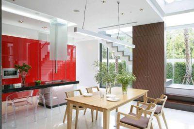 Cuisine & mini salle séjour - chokchai-4-house par Archimontage Design - Bangkok, Thailande
