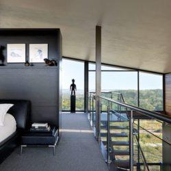 Esaclier accès chambre principale - Glass-House par Jim Gewinner Texas, USA