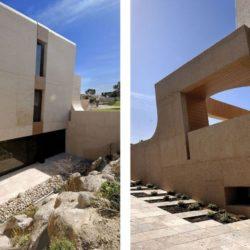 Façade béton teinté & couloir extérieur - Designs-Sculptural par A-Cero - Madrid, Espagne