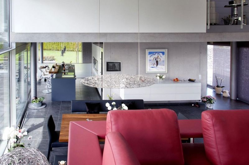 Pièce de vie & grande baie vitrée - High-Tech-Modern-Home par Eppler Buhler, Allemagne